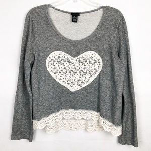 Rue 21 Gray Lace Scoop Neck Sweater